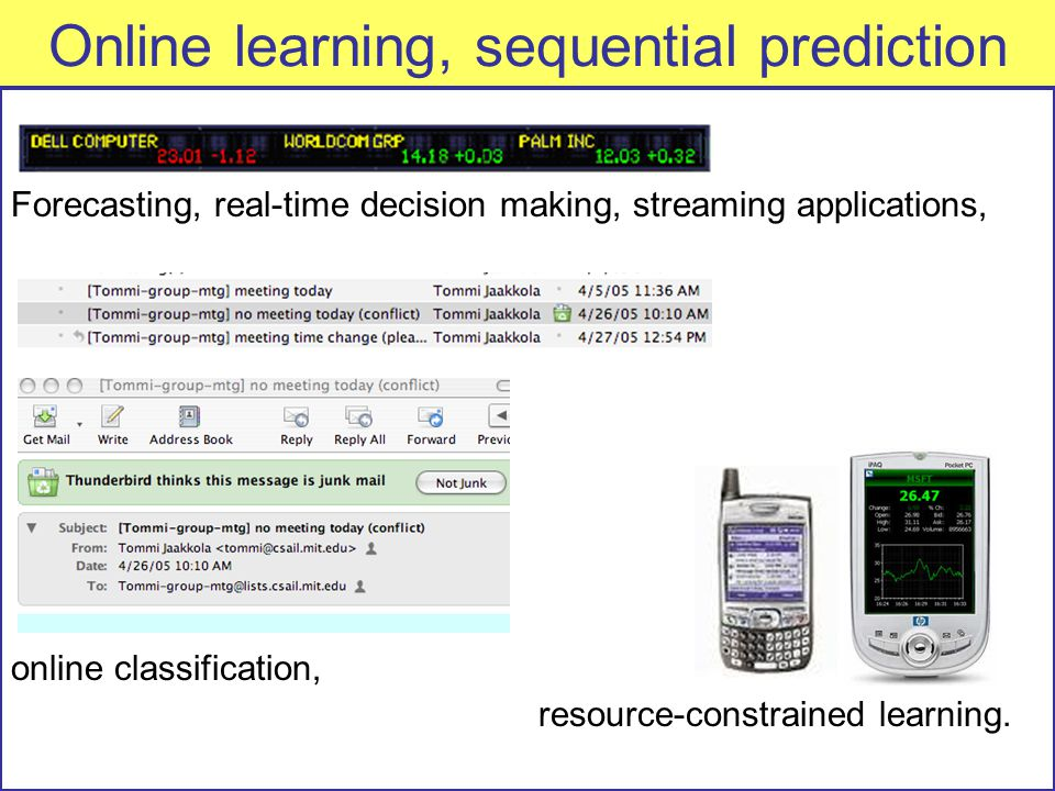 Online learning, sequential prediction Forecasting, real-time decision making, streaming applications, online classification, resource-constrained learning.