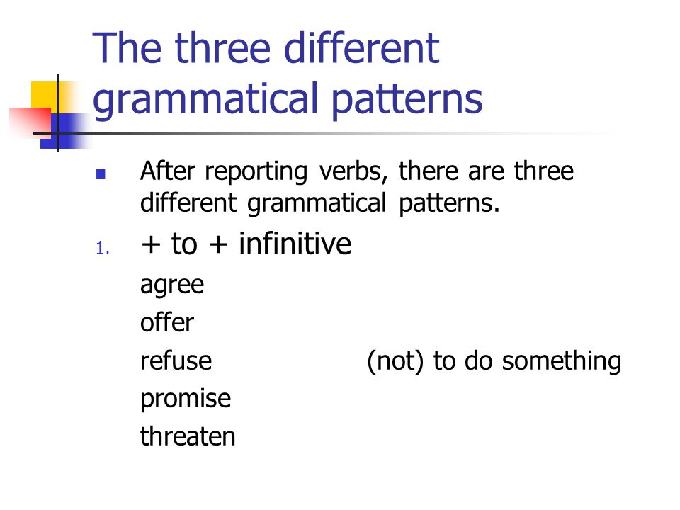 The three different grammatical patterns After reporting verbs, there are three different grammatical patterns.