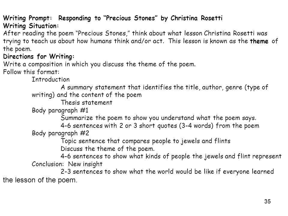 34 Independent Practice Choose one of the following prompts and poems to write a response to literature.