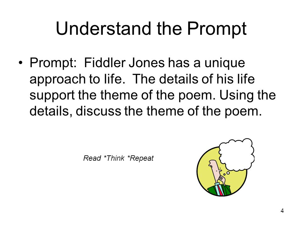 14 Put it Together for the Introductory Paragraph In the poem, Fiddler Jones by Edgar Lee Masters, the title character speaks from his grave to describe a life lived with joy.