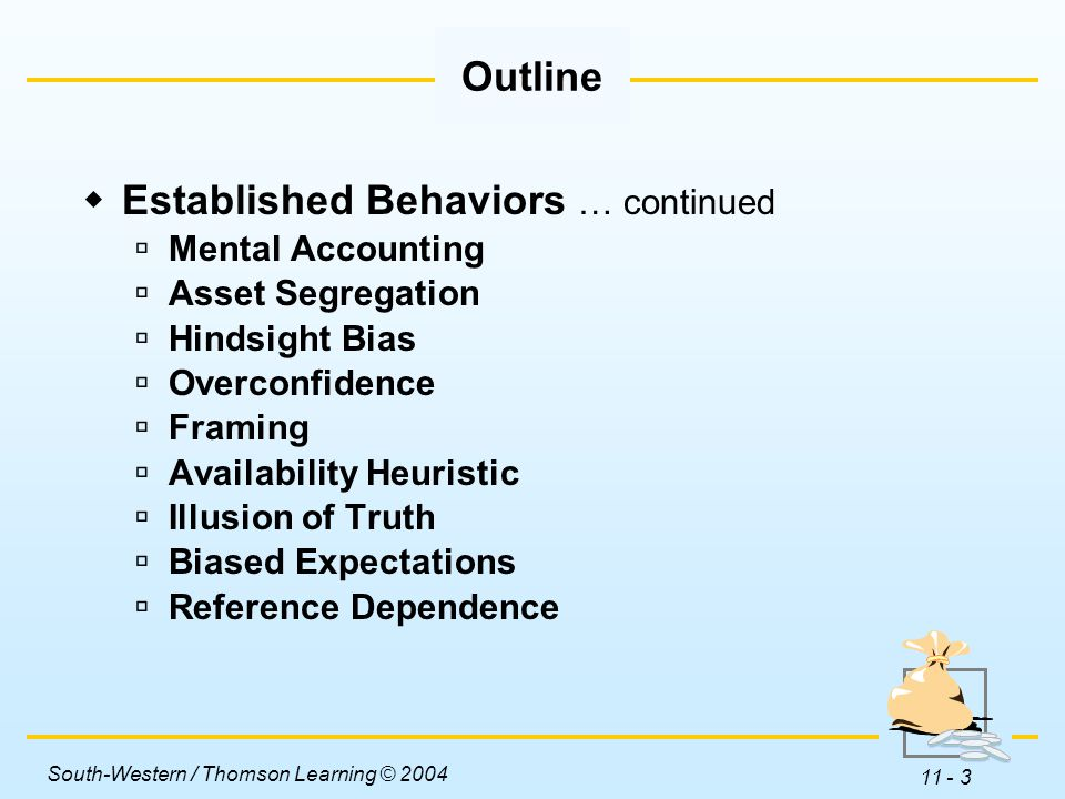 South-Western / Thomson Learning © 2004 11 - 3  Established Behaviors … continued  Mental Accounting  Asset Segregation  Hindsight Bias  Overconfidence  Framing  Availability Heuristic  Illusion of Truth  Biased Expectations  Reference Dependence Outline
