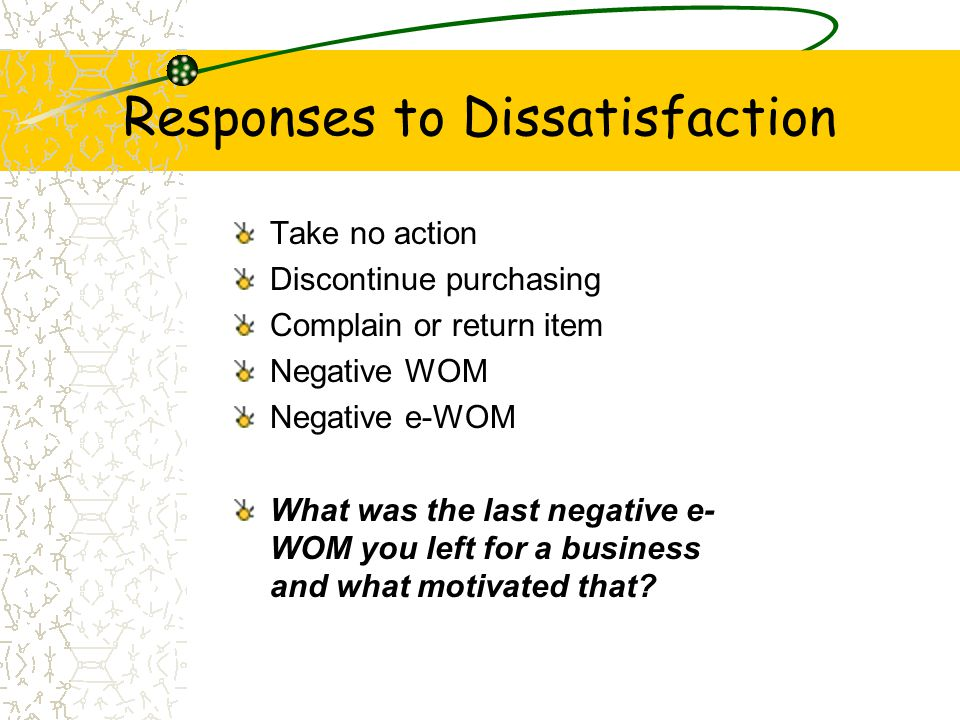 Responses to Dissatisfaction Take no action Discontinue purchasing Complain or return item Negative WOM Negative e-WOM What was the last negative e- W