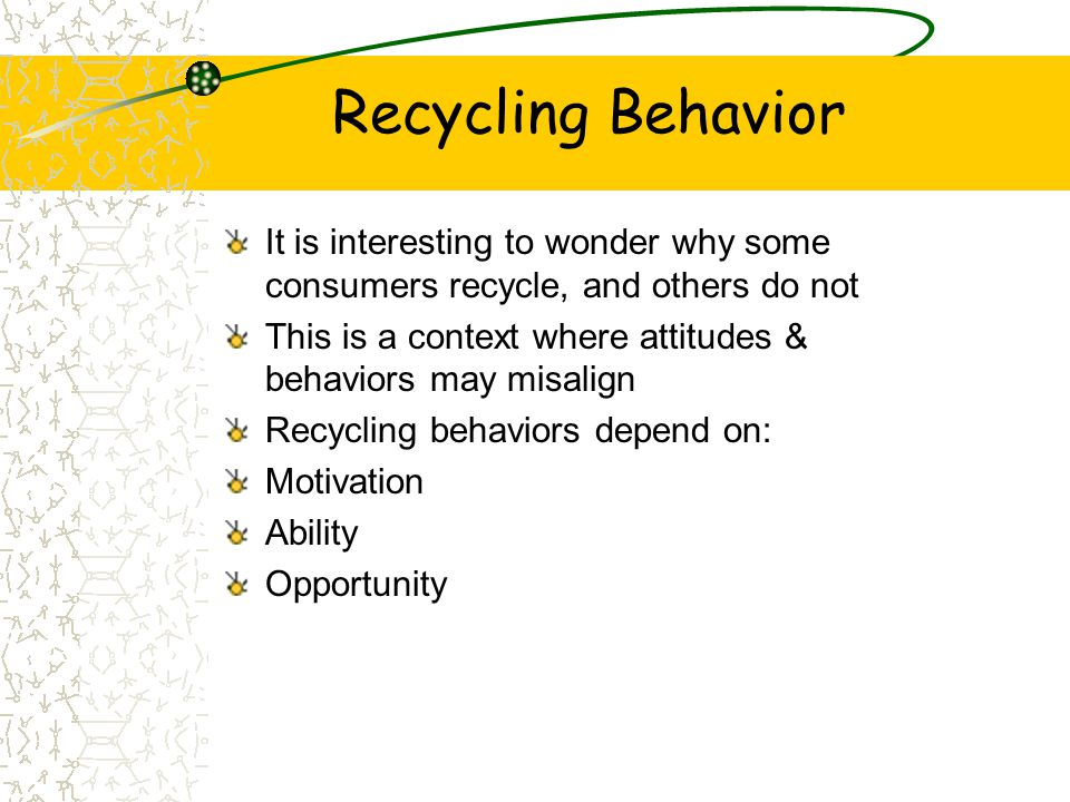 Recycling Behavior It is interesting to wonder why some consumers recycle, and others do not This is a context where attitudes & behaviors may misalig