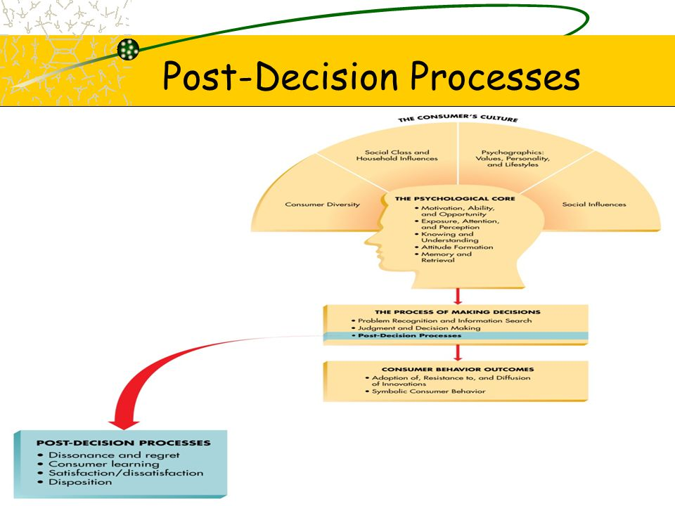 Post-Decision Dissonance & Regret Loss of confidence in decision of –Acquisition –Consumption –Disposition Dissonance—Anxiety when MAO high & more than one alternative is attractive Regret –Unfavorable comparison –Consumer anticipation