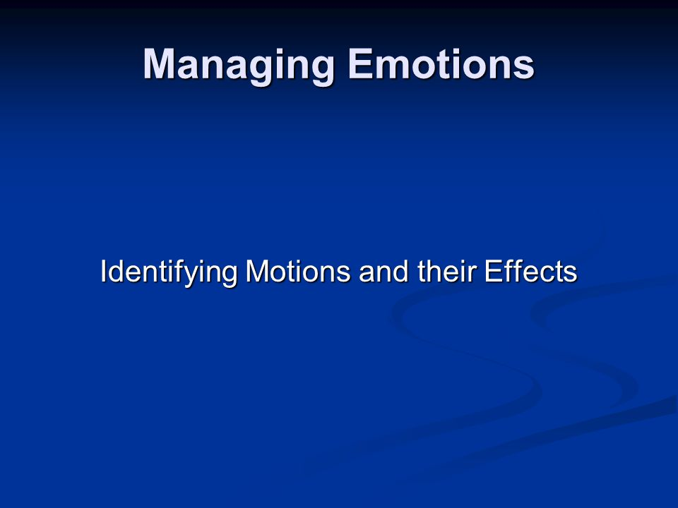 Identifying Motions and their Effects
