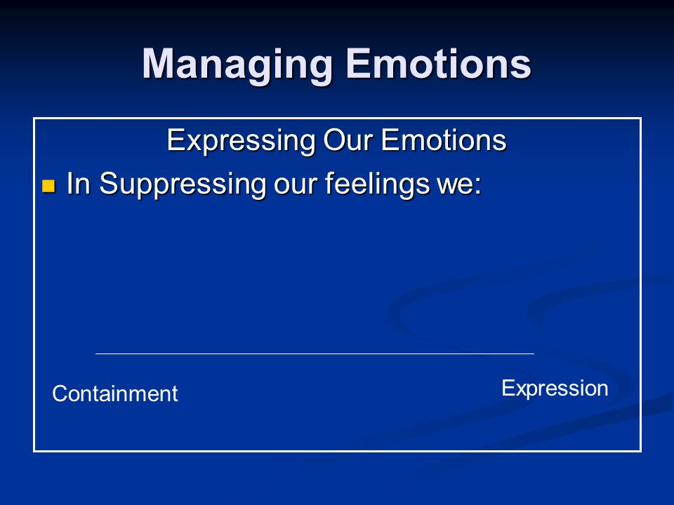 Managing Emotions Expressing Our Emotions In Suppressing our feelings we: In Suppressing our feelings we: Containment Expression