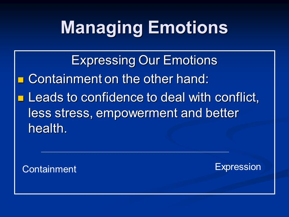 Managing Emotions Expressing Our Emotions Containment on the other hand: Containment on the other hand: Leads to confidence to deal with conflict, less stress, empowerment and better health.