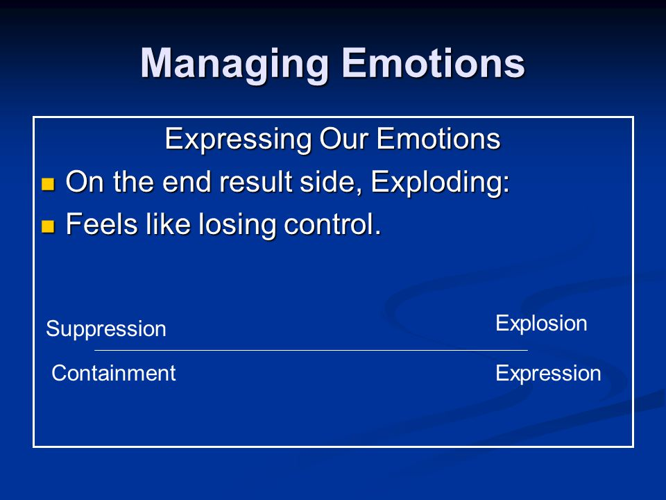 Managing Emotions Expressing Our Emotions On the end result side, Exploding: On the end result side, Exploding: Feels like losing control.