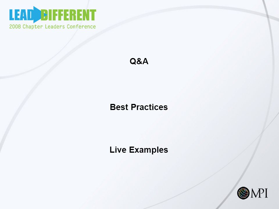 Q&A Best Practices Live Examples