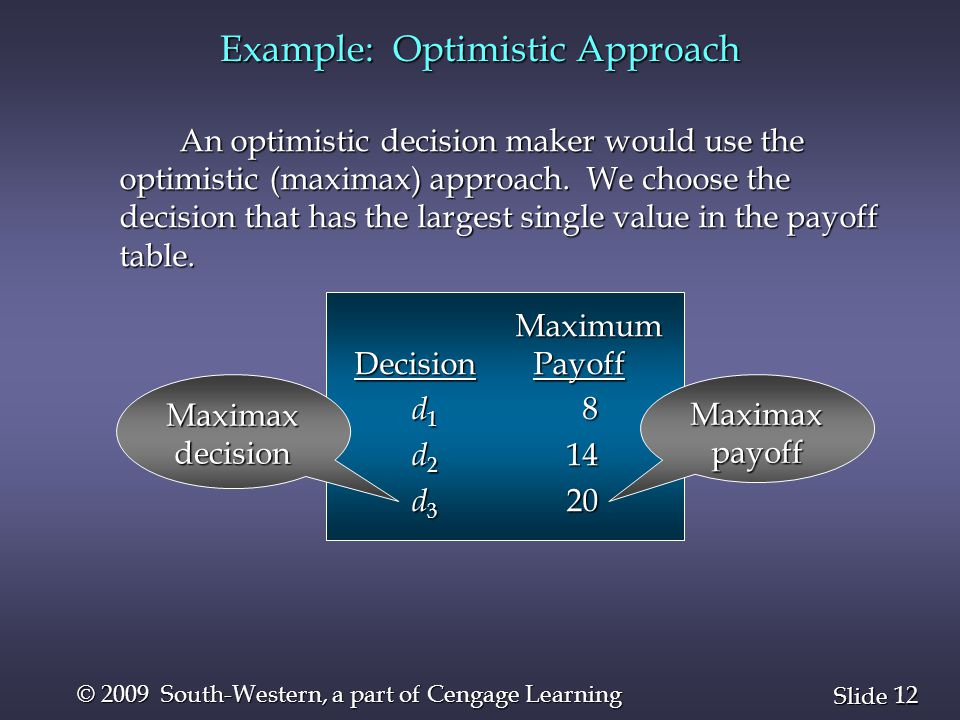 12 Slide © 2009 South-Western, a part of Cengage Learning Example: Optimistic Approach An optimistic decision maker would use the optimistic (maximax)