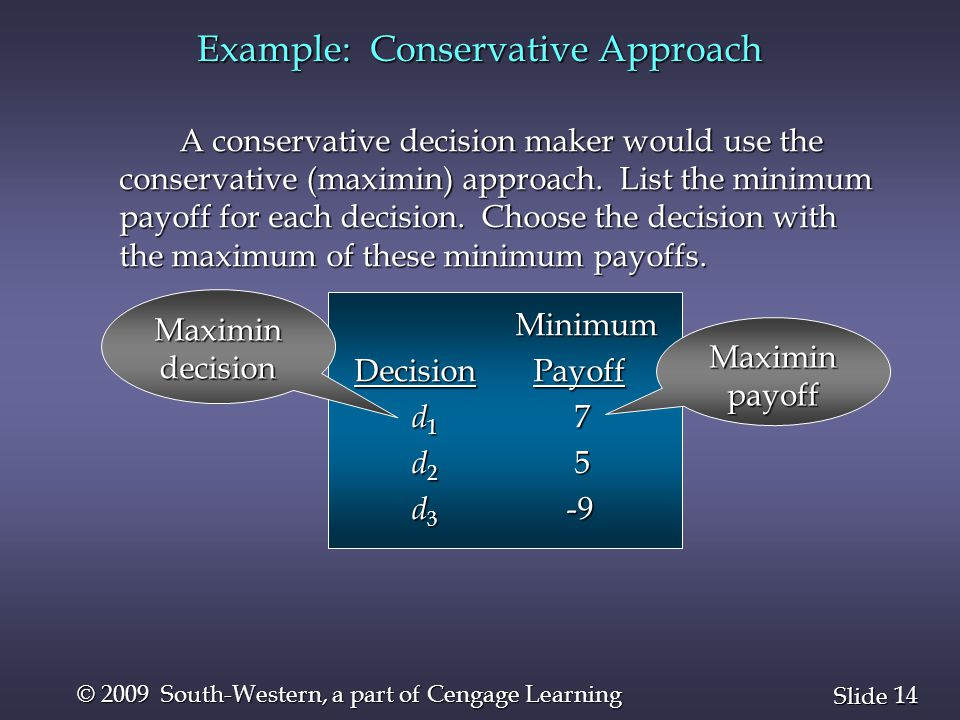 14 Slide © 2009 South-Western, a part of Cengage Learning Example: Conservative Approach A conservative decision maker would use the conservative (max