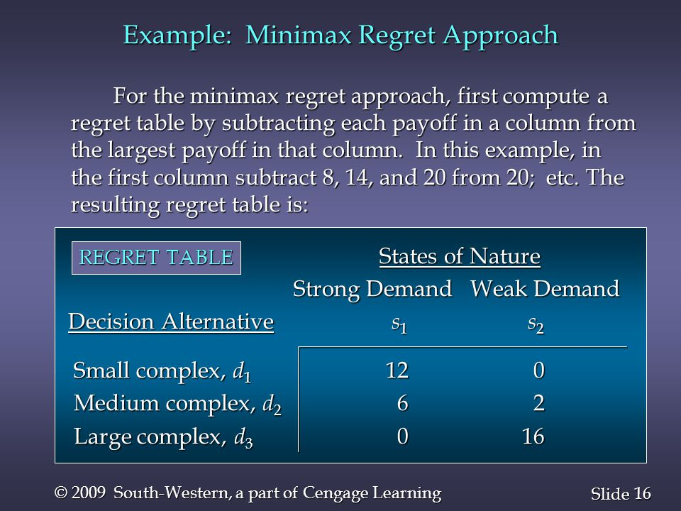16 Slide © 2009 South-Western, a part of Cengage Learning For the minimax regret approach, first compute a regret table by subtracting each payoff in