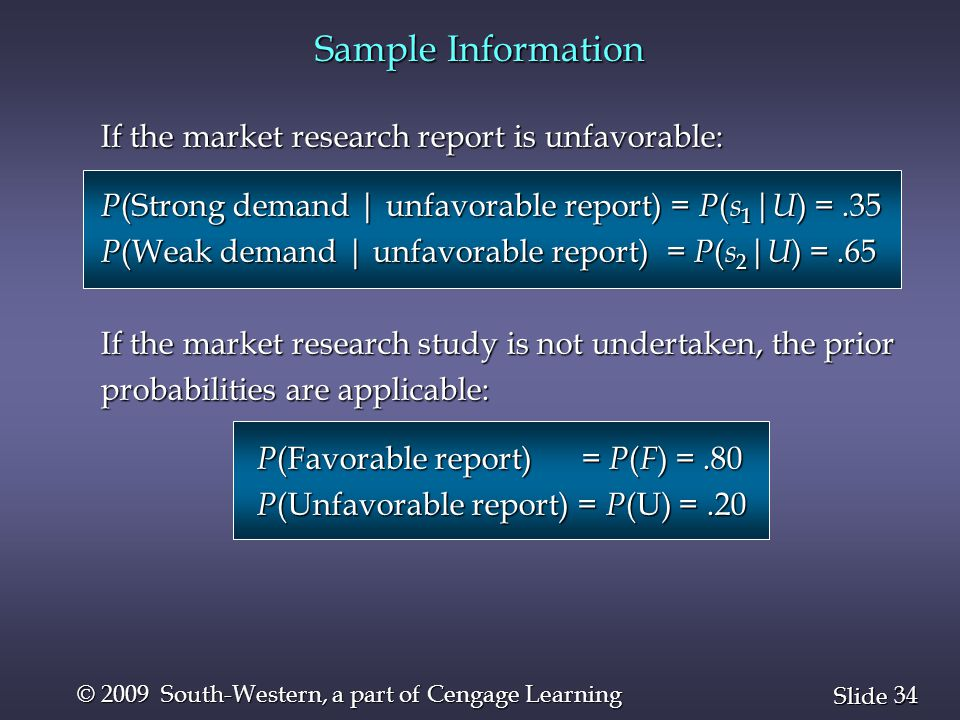 34 Slide © 2009 South-Western, a part of Cengage Learning If the market research report is unfavorable: P (Strong demand | unfavorable report) = P ( s