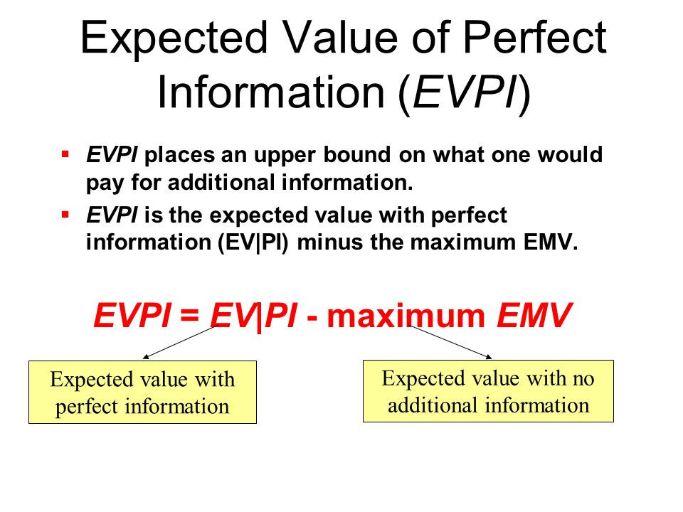 Expected Value with Perfect Information (EV|PI) In other words EV ׀ PI = Best Payoff of S 1 * P(S 1 ) + Best Payoff of S 2 * P(S 2 ) + … + Best Payoff of S n * P(S n )