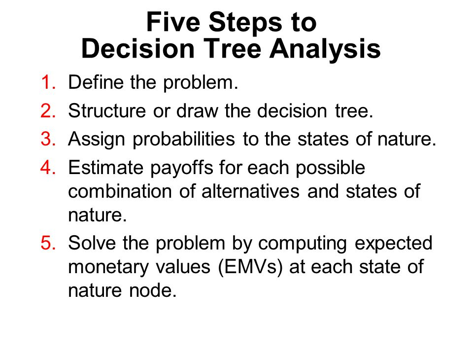 Five Steps to Decision Tree Analysis 1.Define the problem. 2.Structure or draw the decision tree. 3.Assign probabilities to the states of nature. 4.Es