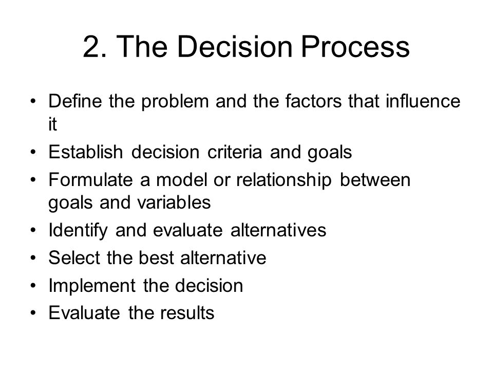Decision Making Under Uncertainty –minimax regret – choose the alternative with the least opportunity cost (the largest regret), another pessimistic criterion Calculate Regret by using the maximum of the state of Nature subtracts the payoff For each alternative, find the maximum regret Choose the alternative with the smallest maximum regret as the decision