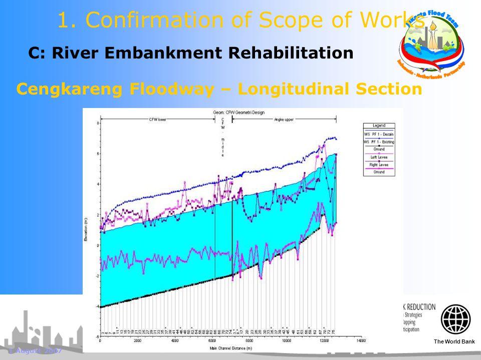 1 August 2007 C: River Embankment Rehabilitation 1. Confirmation of Scope of Works Cengkareng Floodway – Longitudinal Section The World Bank