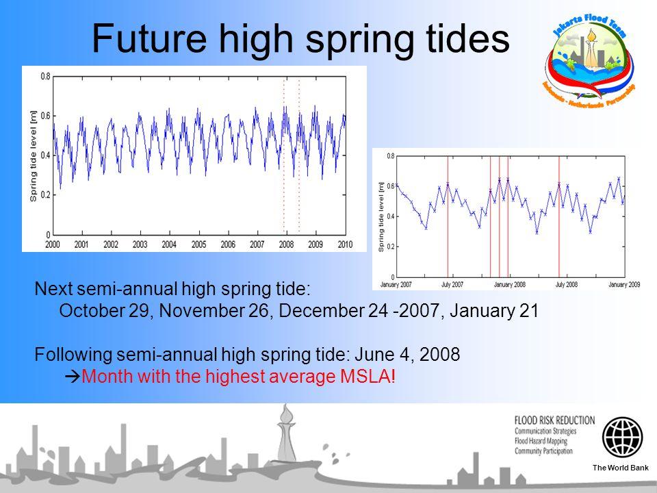 Future high spring tides Next semi-annual high spring tide: October 29, November 26, December 24 -2007, January 21 Following semi-annual high spring tide: June 4, 2008  Month with the highest average MSLA.