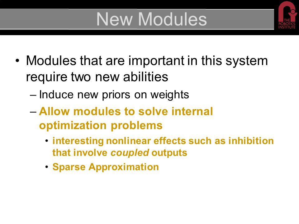 New Modules Modules that are important in this system require two new abilities –Induce new priors on weights –Allow modules to solve internal optimiz