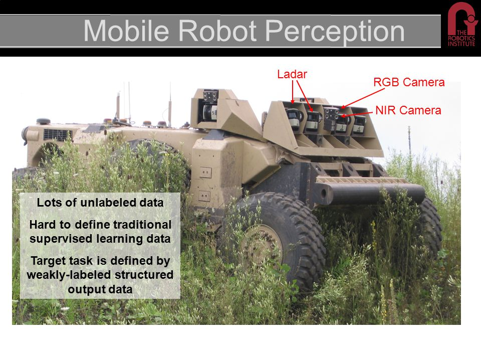 Mobile Robot Perception RGB Camera NIR Camera Ladar Lots of unlabeled data Hard to define traditional supervised learning data Target task is defined by weakly-labeled structured output data
