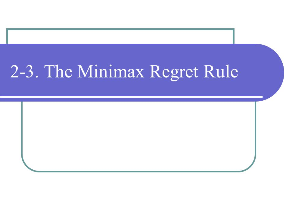 2-3. The Minimax Regret Rule