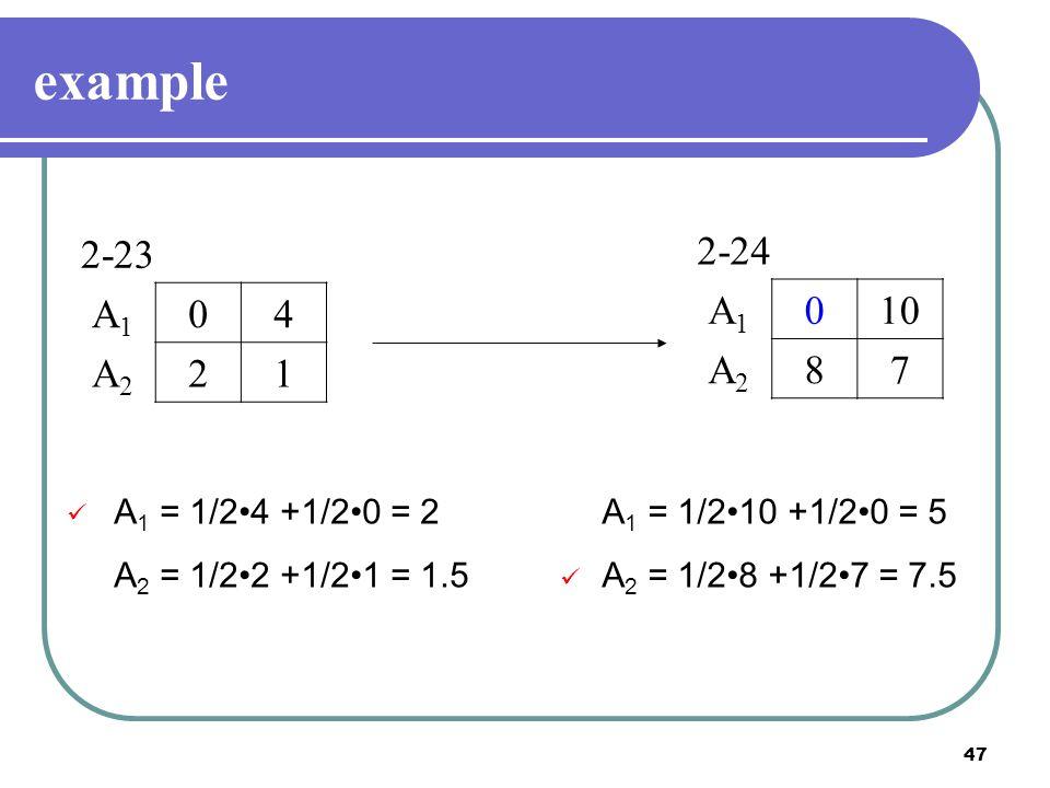 47 example 2-23 A1A1 04 A2A2 21 2-24 A1A1 010 A2A2 87 A 1 = 1/24 +1/20 = 2 A 2 = 1/22 +1/21 = 1.5 A 1 = 1/210 +1/20 = 5 A 2 = 1/28 +1/27 = 7.5