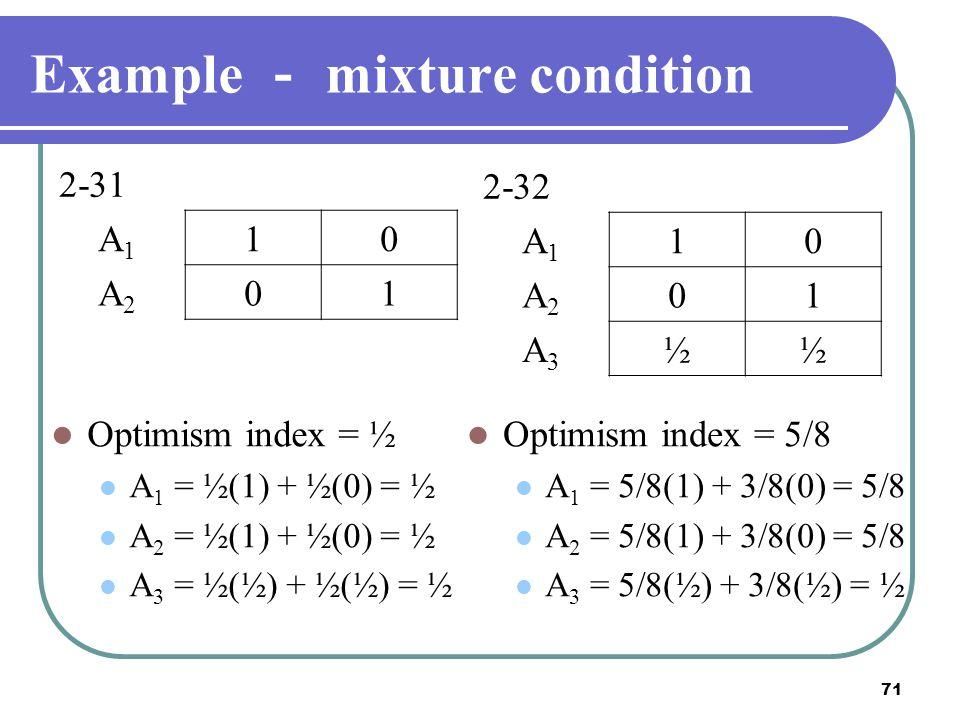 71 Example - mixture condition Optimism index = ½ A 1 = ½(1) + ½(0) = ½ A 2 = ½(1) + ½(0) = ½ A 3 = ½(½) + ½(½) = ½ 2-31 A1A1 10 A2A2 01 2-32 A1A1 10