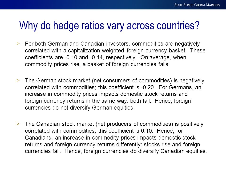 >For both German and Canadian investors, commodities are negatively correlated with a capitalization-weighted foreign currency basket. These coefficie