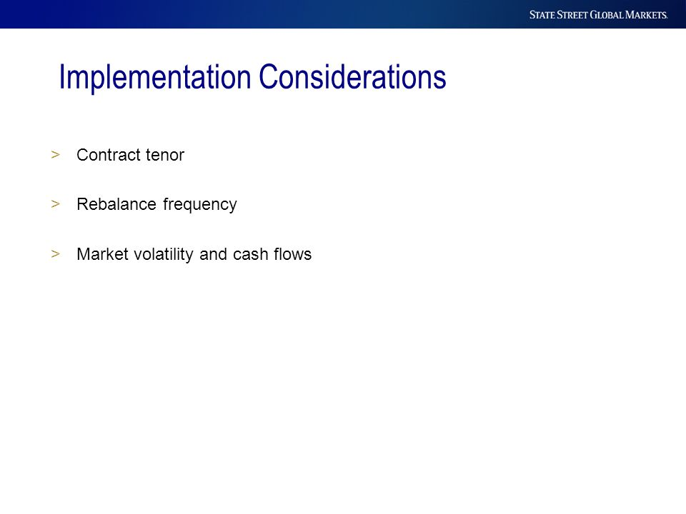 Implementation Considerations >Contract tenor >Rebalance frequency >Market volatility and cash flows