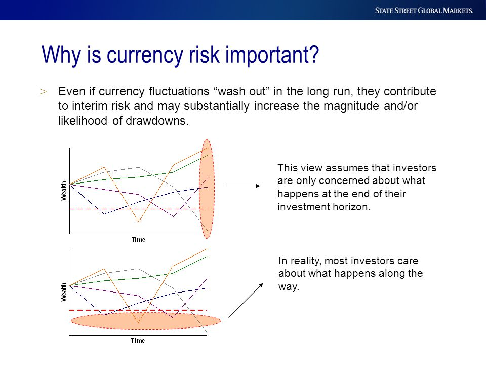 "> Even if currency fluctuations ""wash out"" in the long run, they contribute to interim risk and may substantially increase the magnitude and/or likeli"