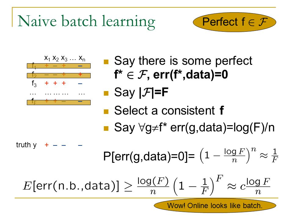 Online majority algorithm Say there is some perfect f* 2 F, err(f*,data)=0 Say | F |=F Predict according to majority of consistent f's Each mistake Maj makes eliminates ¸ ½ of f's Maj's #mistakes · log 2 (F) err(Maj,data) · log 2 (F)/n Perfect f 2 F f 1 f 2 f 3 … f F (live) majority truth y x 1 x 2 x 3 … x n + – + … + + + – – + … + + – + + + … – + –