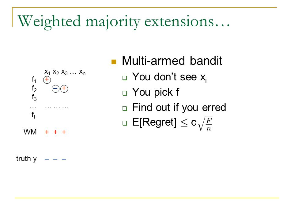 Weighted majority extensions… Tracking  On any window W, E[Regret(WM,W)] · c f 1 f 2 f 3 … f F WM truth y x 1 x 2 x 3 … x n +–+…++++–+…+++ ––+…++–––+