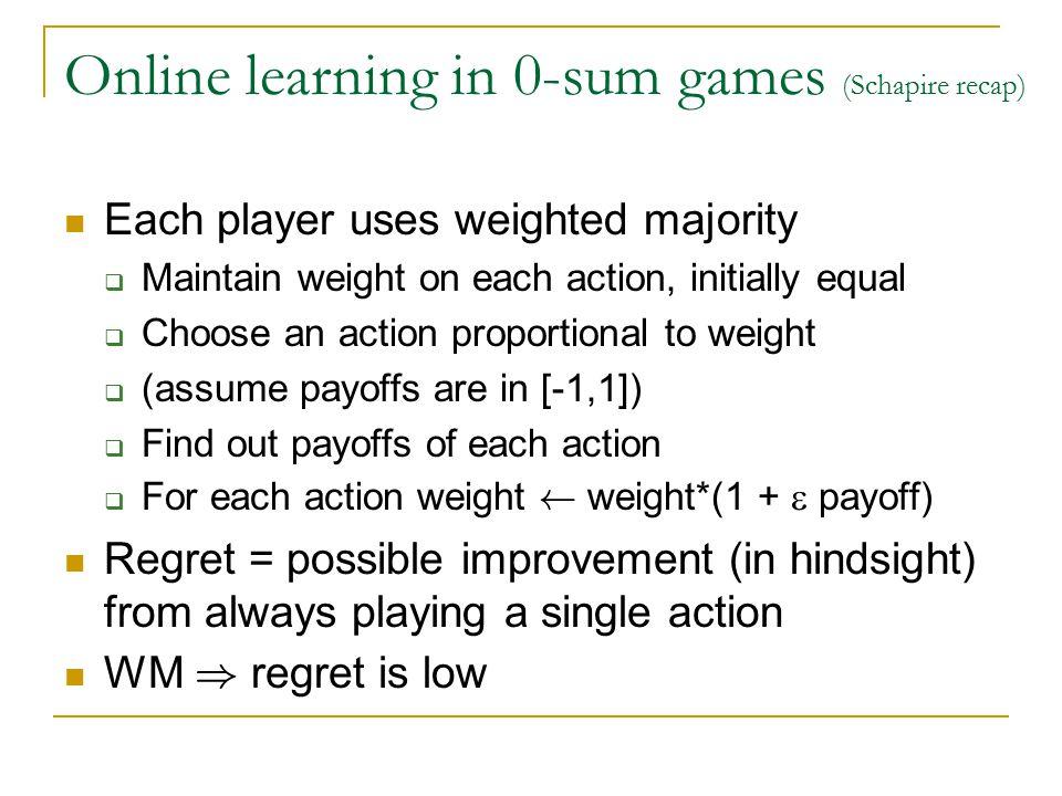 Online learning in 0-sum games (Schapire recap) Payoff is A(i,j) for pl. 1, -A(i,j) for pl. 2 Going first is disadvantage: max i min j A(i,j) · min j