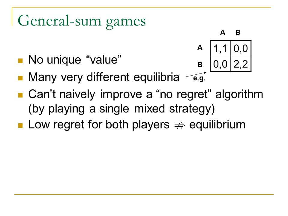 Justifying equilibrium in games Online learning gives plausible explanation for how equilibrium might arise Nash equilibrium  Zero-sum games Unique value Fast and easy to learn  General-sum games Not unique Fast and easy to learn ?.