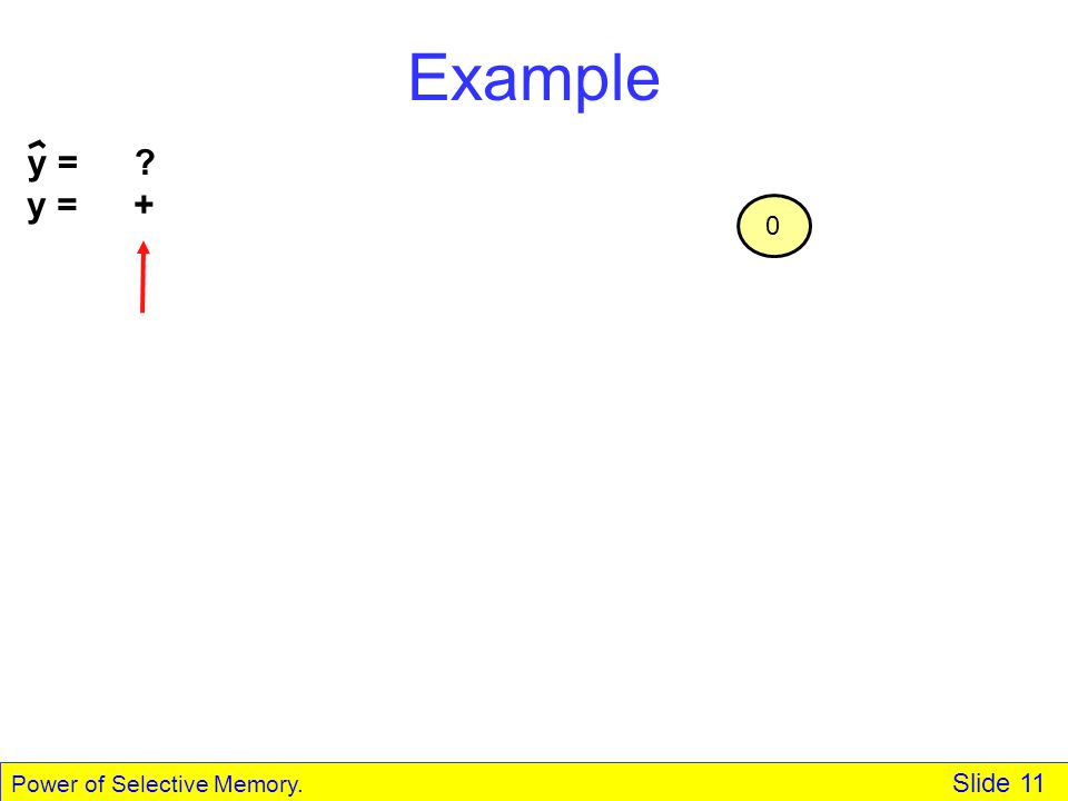 Power of Selective Memory. Slide 11 Example y = + 0 y = ?