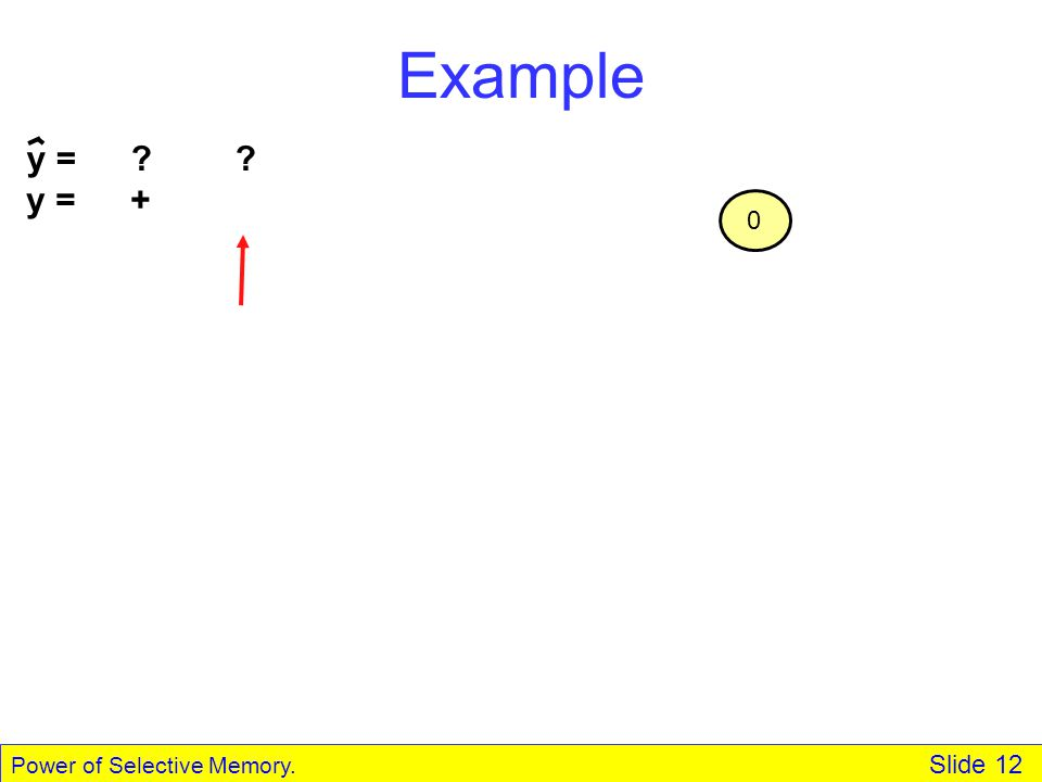 Power of Selective Memory. Slide 12 Example y = + 0 y = ??