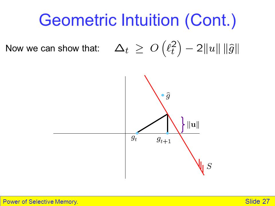 Power of Selective Memory. Slide 27 Geometric Intuition (Cont.) Now we can show that: