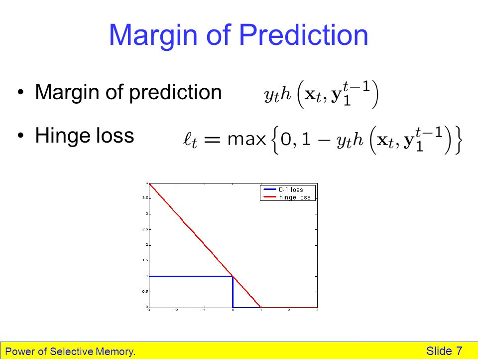 Power of Selective Memory. Slide 7 Margin of Prediction Margin of prediction Hinge loss