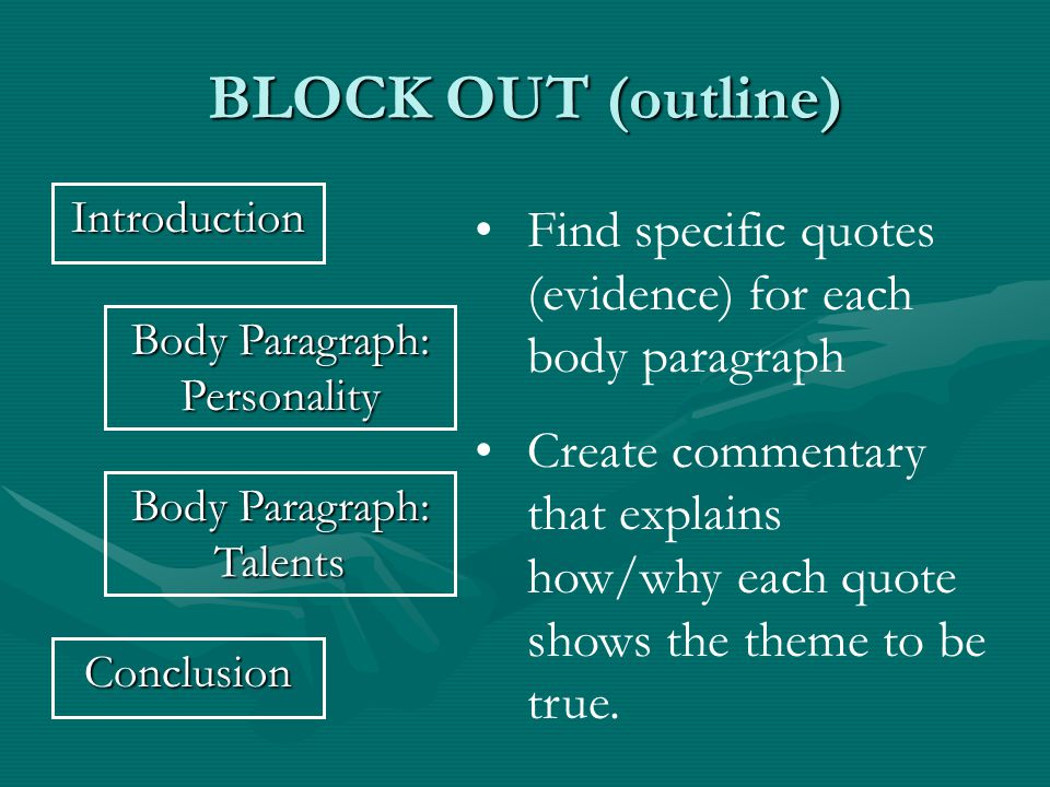 BLOCK OUT (outline) Introduction Body Paragraph: Personality Conclusion Find specific quotes (evidence) for each body paragraph Create commentary that