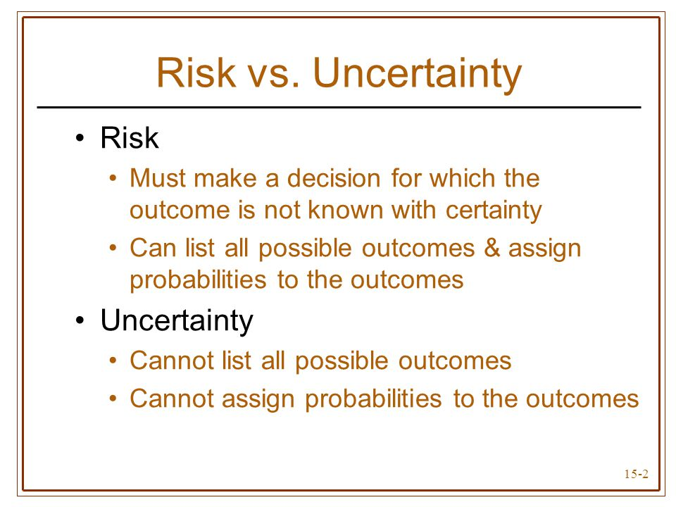 15-13 Expected value rule Mean- variance rules Coefficient of variation rule Summary of Decision Rules Under Conditions of Risk Choose decision with highest expected value Given two risky decisions A & B: If A has higher expected outcome & lower variance than B, choose decision A If A & B have identical variances (or standard deviations), choose decision with higher expected value If A & B have identical expected values, choose decision with lower variance (standard deviation) Choose decision with smallest coefficient of variation