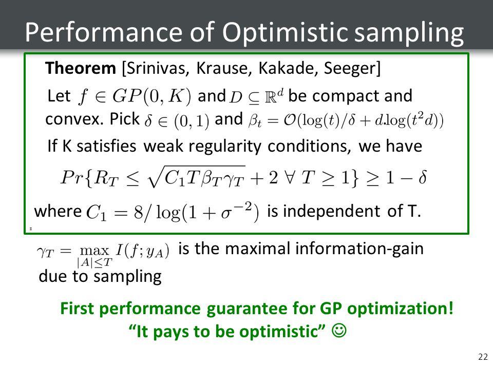 Performance of Optimistic sampling 22 Theorem [Srinivas, Krause, Kakade, Seeger] Let and be compact and convex. Pick and. If K satisfies weak regulari