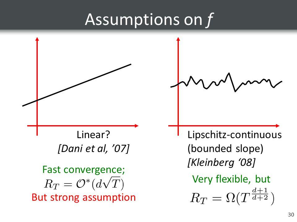 30 Assumptions on f Linear? [Dani et al, '07] Lipschitz-continuous (bounded slope) [Kleinberg '08] Fast convergence; But strong assumption Very flexib