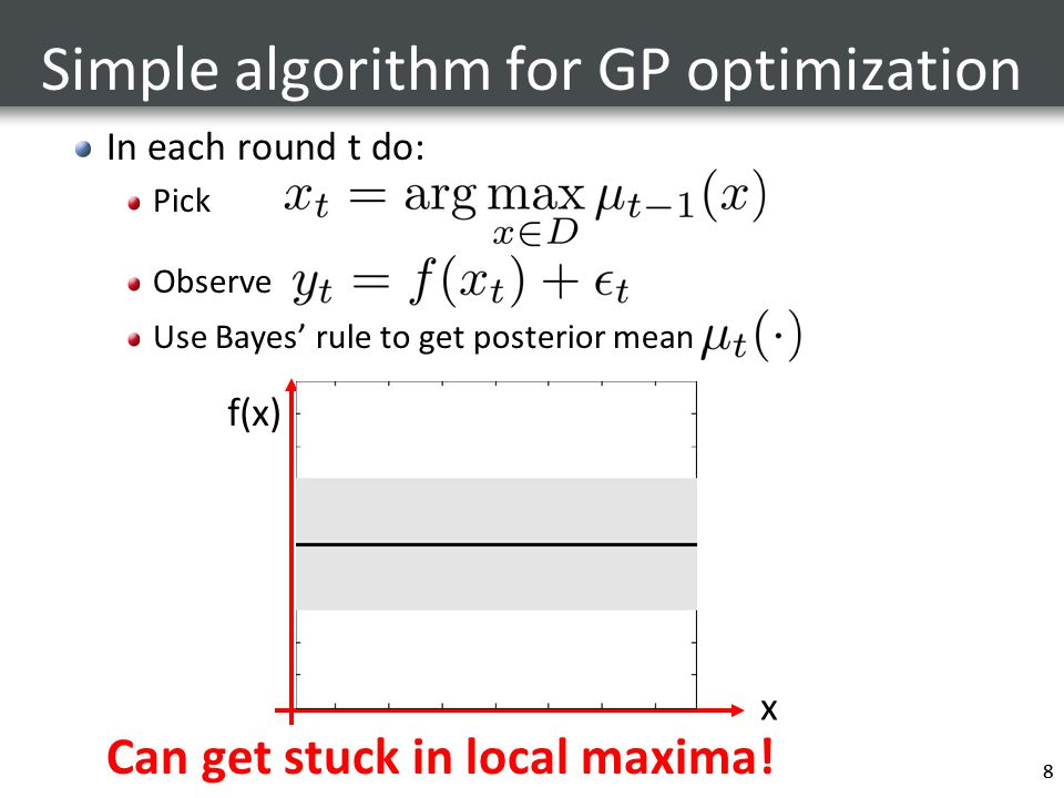 8 Simple algorithm for GP optimization In each round t do: Pick Observe Use Bayes' rule to get posterior mean Can get stuck in local maxima! 8 x f(x)
