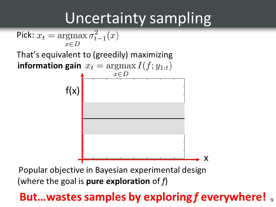 9 Uncertainty sampling Pick: That's equivalent to (greedily) maximizing information gain Popular objective in Bayesian experimental design (where the