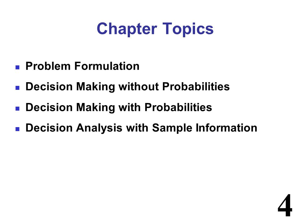15 Three commonly used criteria for decision making when probability information regarding the likelihood of the states of nature is unavailable are: - the optimistic (maximax) approach - the conservative (maximin) approach - the minimax regret approach Decision Making Without Probabilities