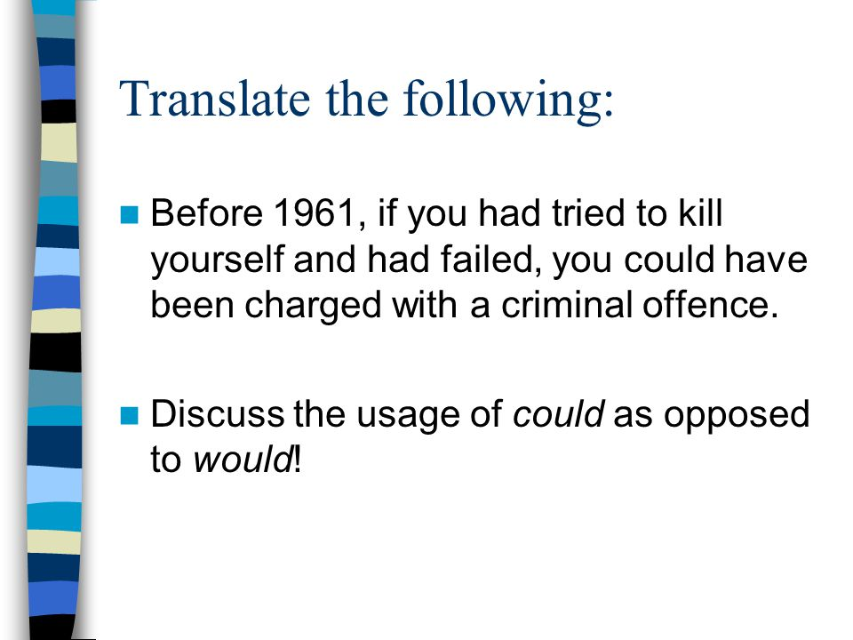Translate the following: Before 1961, if you had tried to kill yourself and had failed, you could have been charged with a criminal offence.