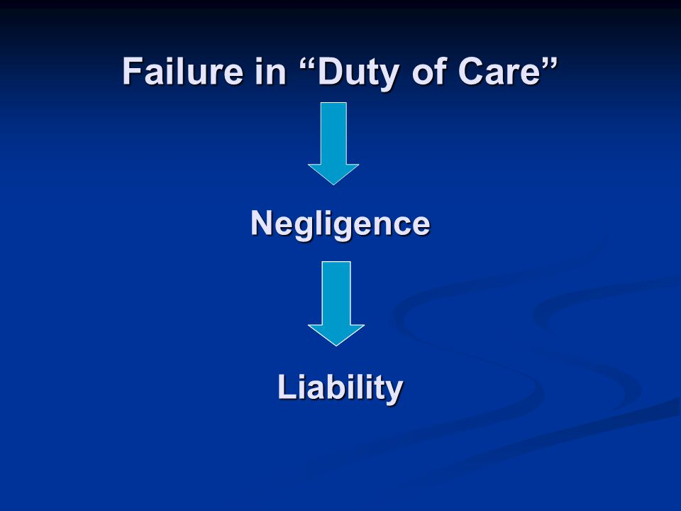 Failure in Duty of Care Negligence Liability