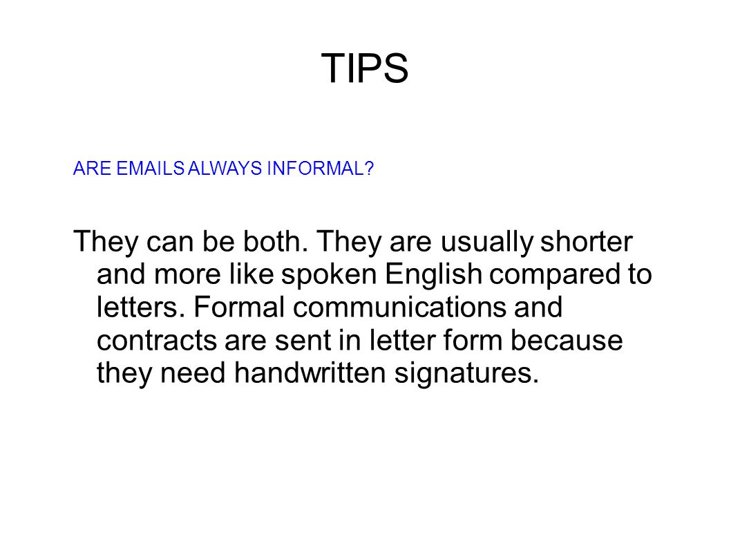 Exam note For the exam you are often asked to write follow-up letters.