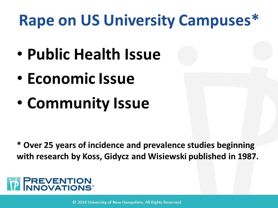 Rape on US University Campuses* Public Health Issue Economic Issue Community Issue * Over 25 years of incidence and prevalence studies beginning with