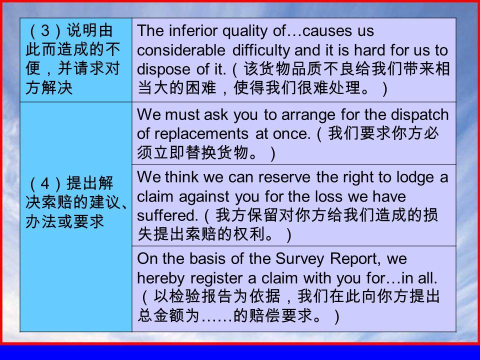 ( 3 )说明由 此而造成的不 便,并请求对 方解决 The inferior quality of…causes us considerable difficulty and it is hard for us to dispose of it.